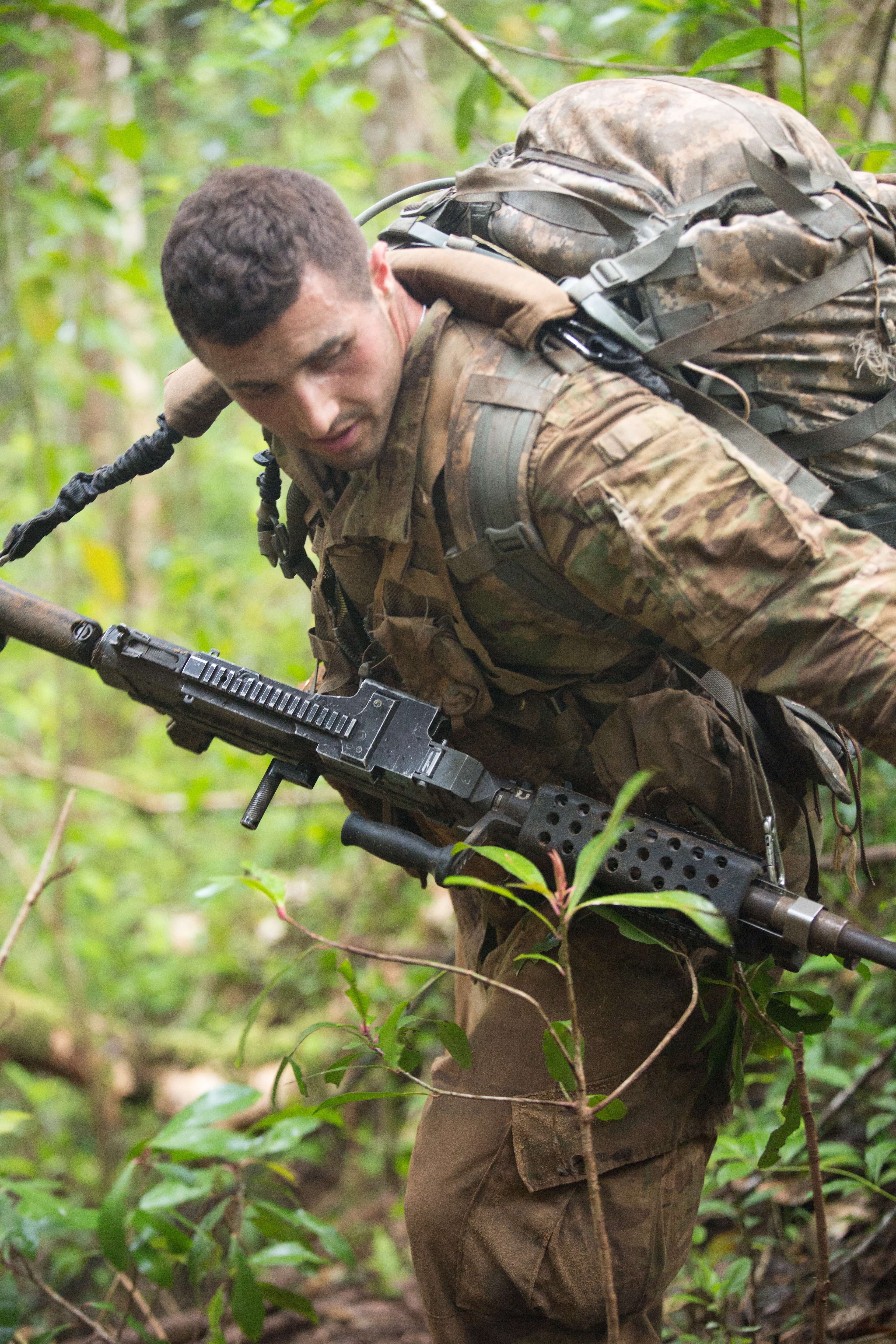 Soldiers Try Out New Tropical Uniforms And Boots In Jungle