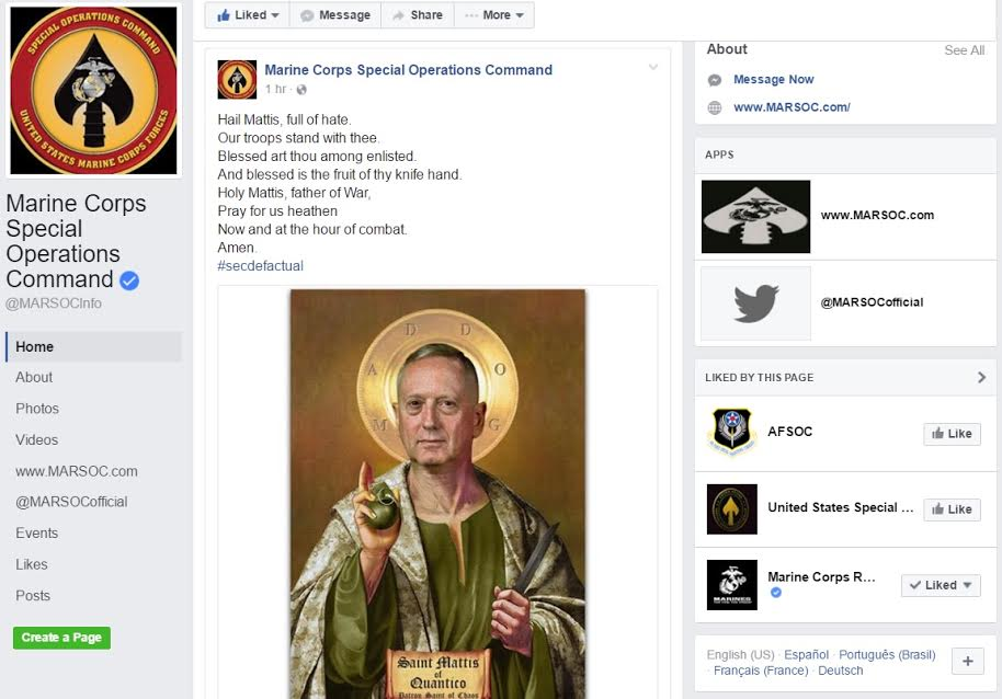 MARSOC Facebook page takes down meme of 'Saint Mattis'